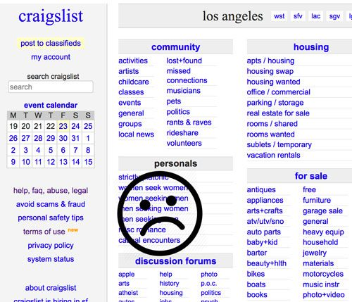 Traditional sluts who still used Craigslist's casual encounters section are  pouring out a bottle of Wet Platinum lube today over the loss of a classic  ho ...