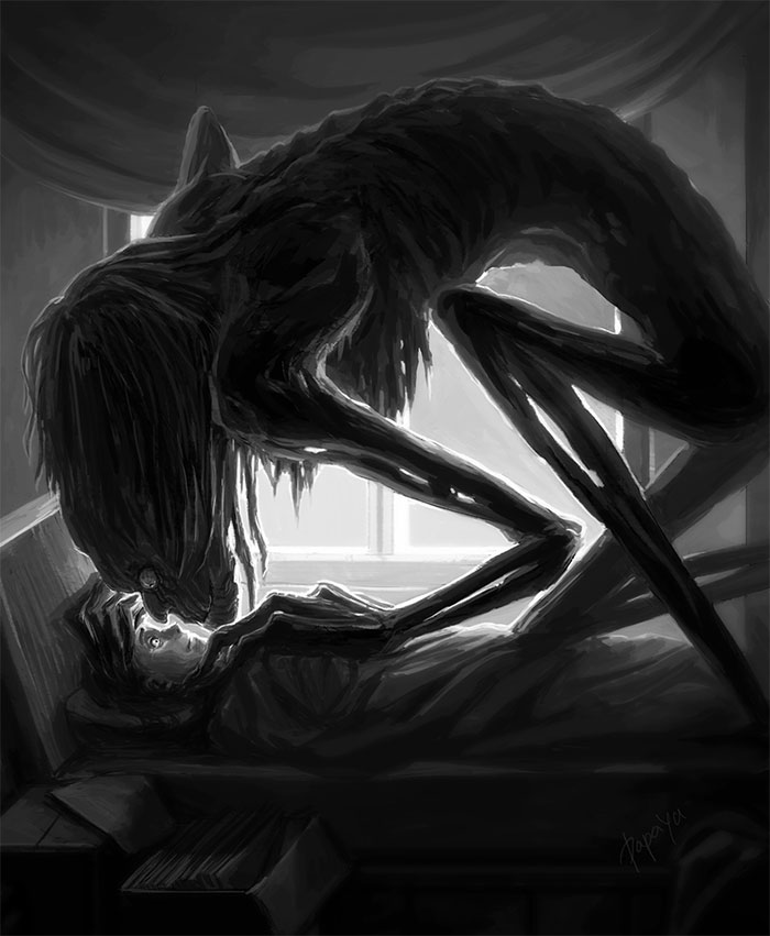 Dark Drawings Of Sleep Paralysis Hallucinations